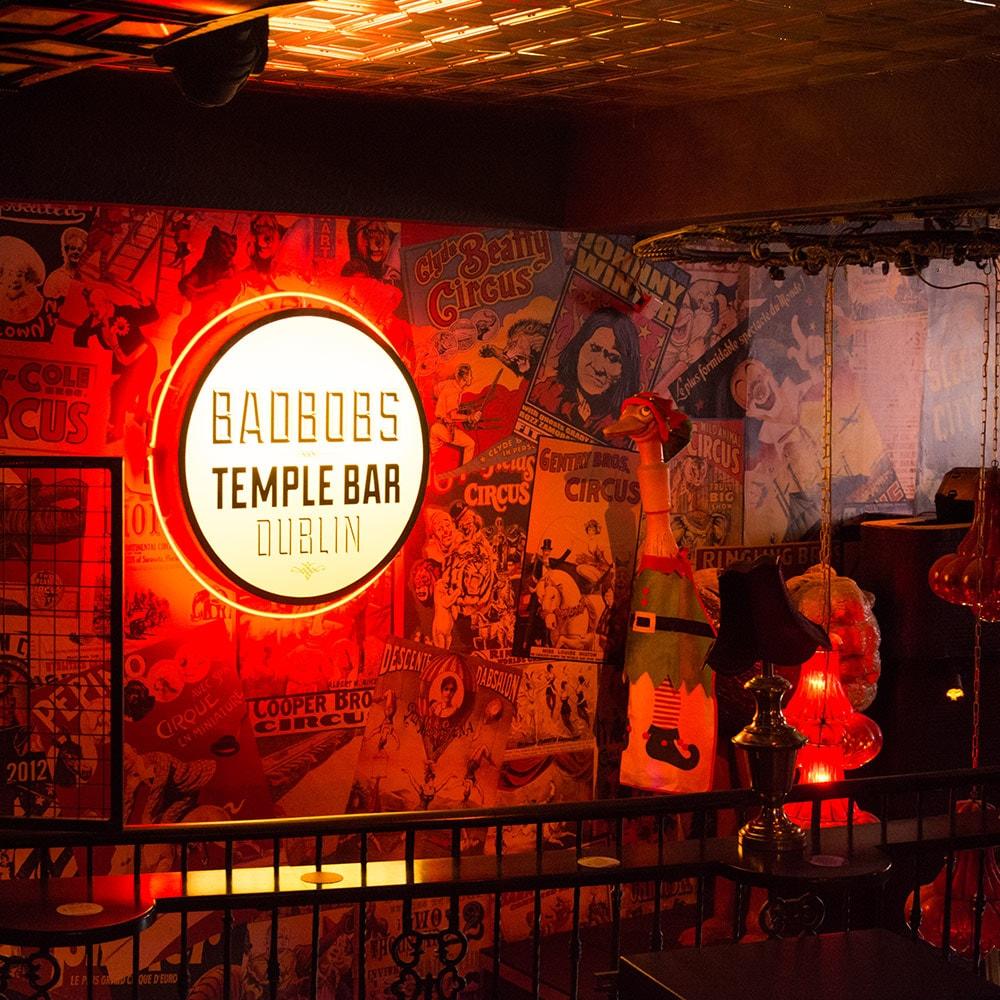 The Bad Bobs Dublin Temple Bar sign against a wall