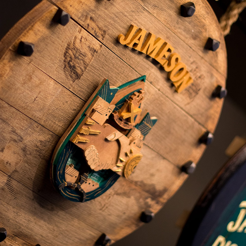Close up of a barrel lid at Jameson Whiskey distillery