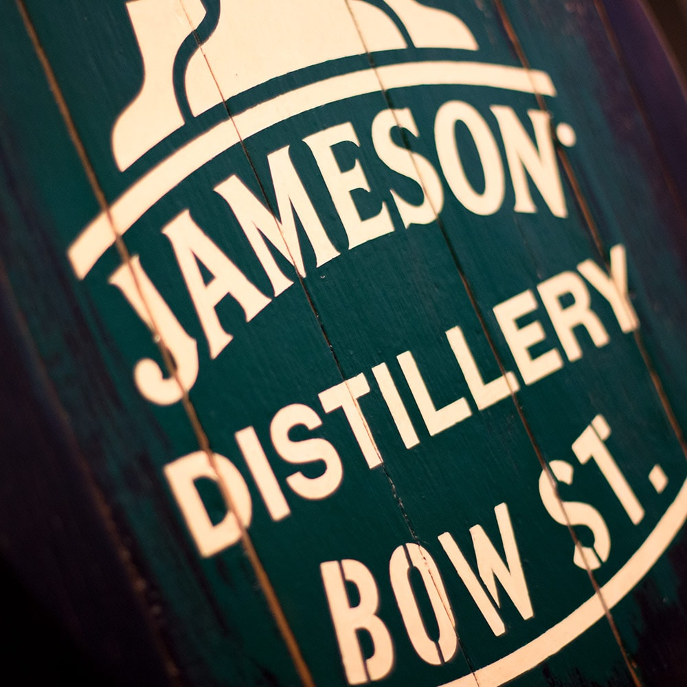 Close up of Jameson Distillery Bow St sign