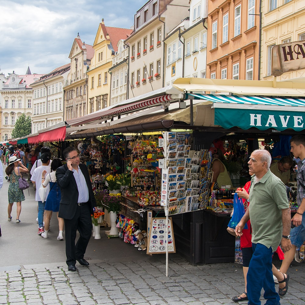 Market stalls in Prague