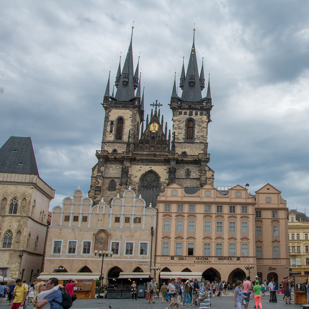 The Prague Astronomical Clock and market square in Prague