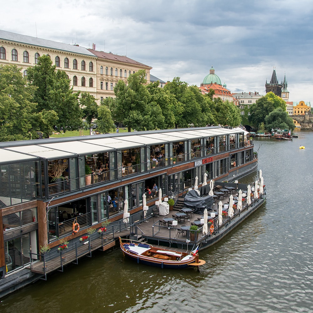 A river boat at the dock in Prague