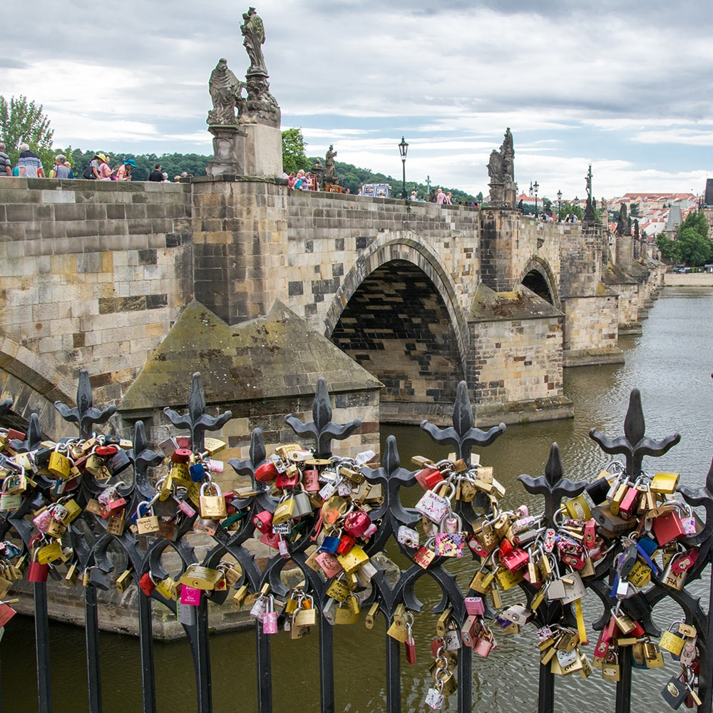 Locks on a fence in Prague, with a bridge in the background