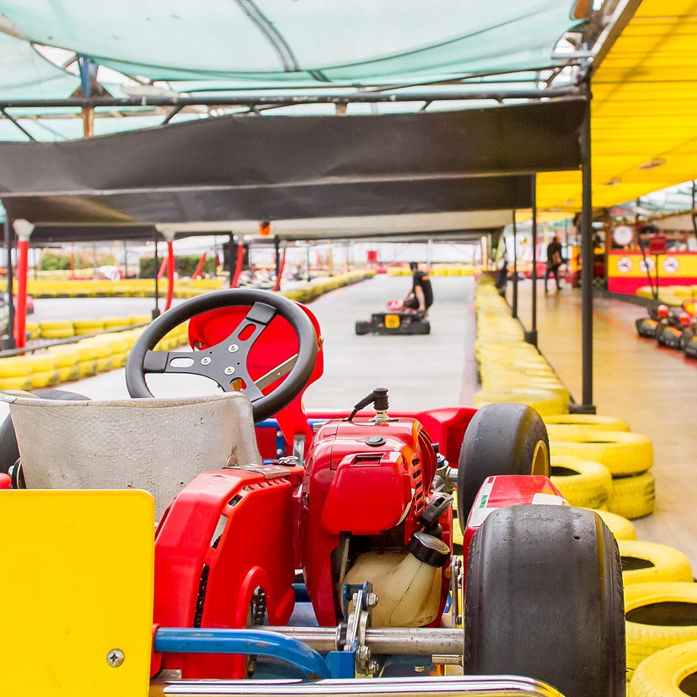 A kart at Prague's indoor karting circuit