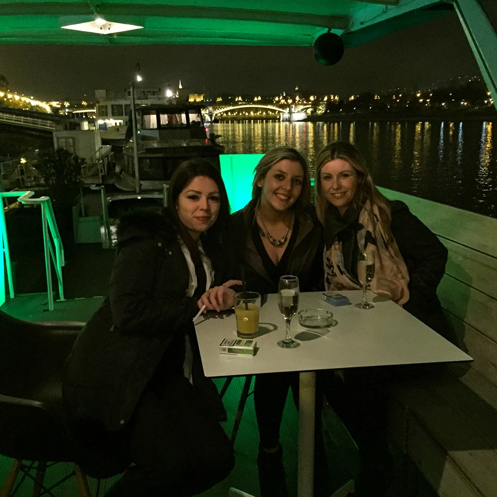 Three girls on a boat in Budapest
