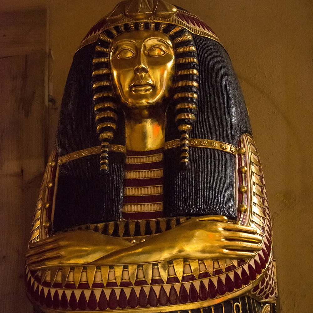 A large Egyptian head sculpture