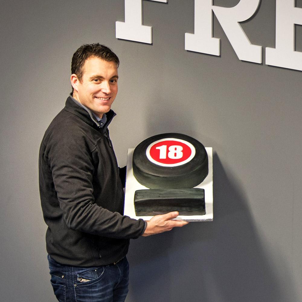 Matt holding the LNOF 18 cake