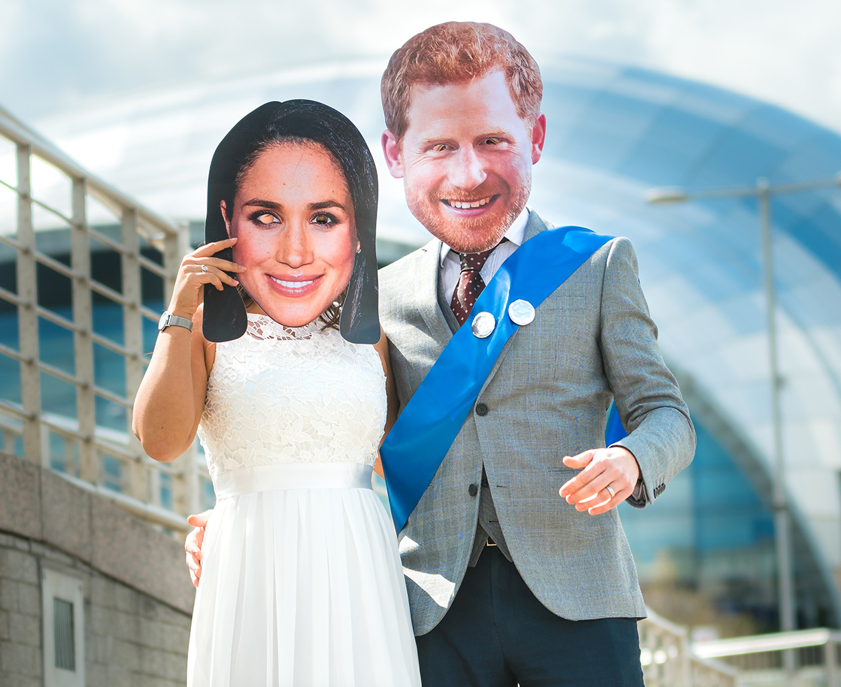 Meghan Markle and Prince Harry in front of The Sage in Newcastle