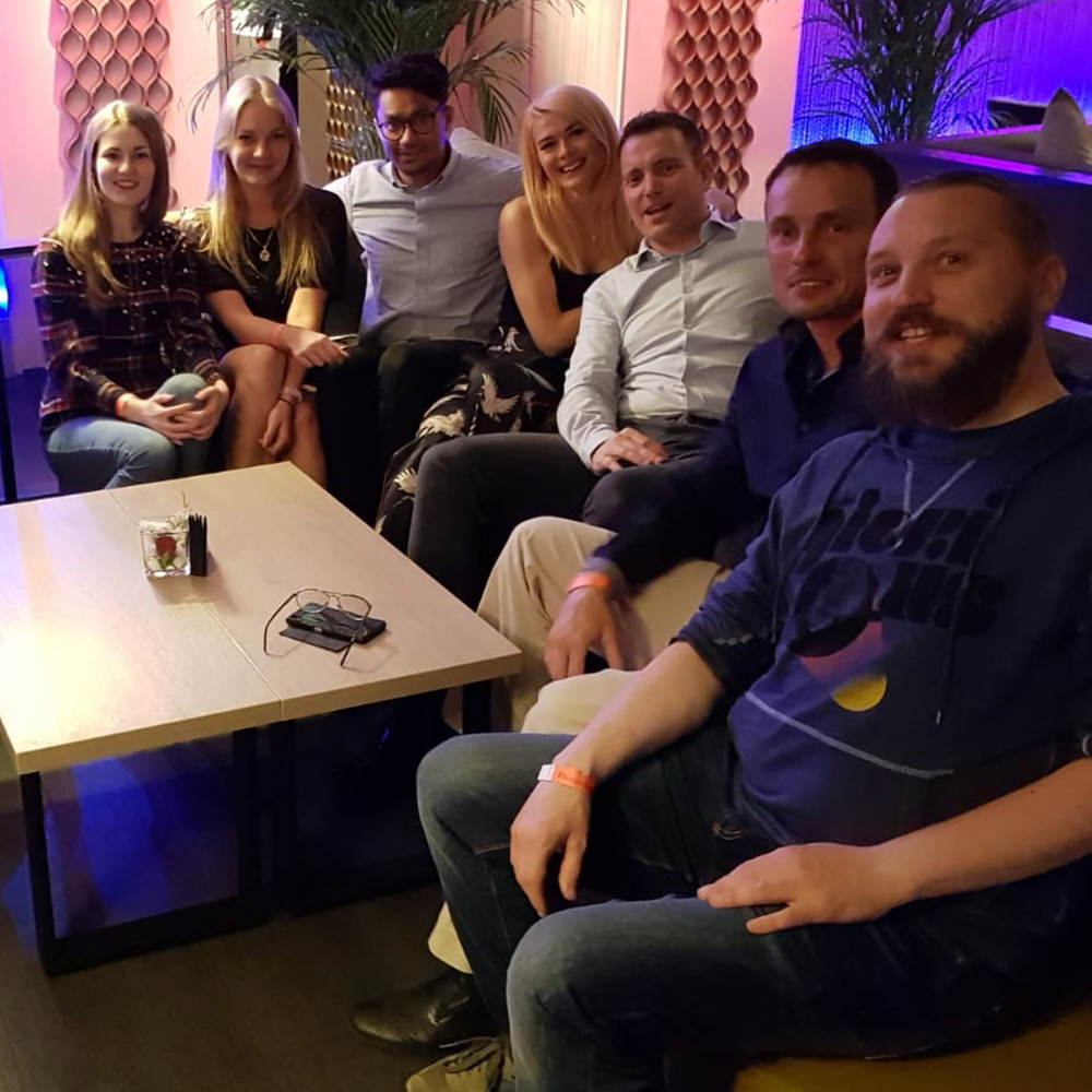 A group photo in Riga's Sky Bar
