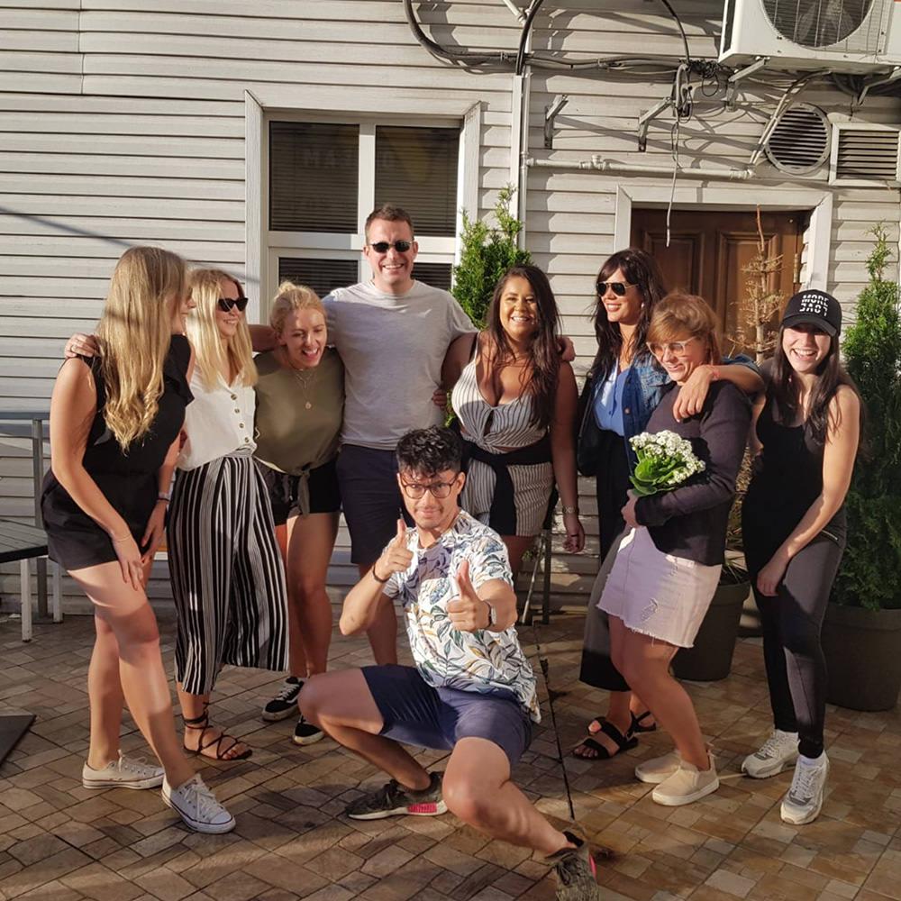 A group photo outside Xdream Hotel