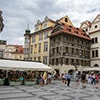 Market stalls in a street in Prague