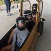 Three girls in a bobsleigh