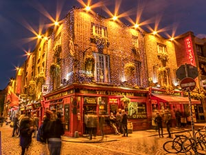 The exterior of The Temple Bar illuminated at night