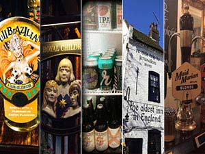 Five tiled images - including two of beer pumps, one of craft beer in a fridge, one of The Royal Children sign and one of the exterior of Ye Olde Trip to Jerusalem