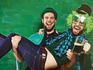Two men dressed up, celebrating St Patrick's Day