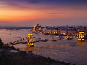 A bridge going into Budapest