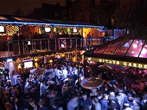 The beer garden at Diceys, Dublin, at night