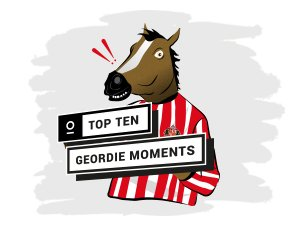 Newcastle's Top 10 Geordie Moments with four illustrations surrounding it