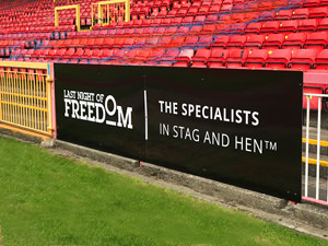 LNOF's board at Gateshead Stadium's pitch side