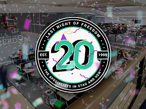 The Last night of Freedom office with an animated 20th birthday badge