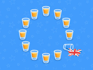 Stag and Hen Brexit Advice - European map of drinks with spilled Union Jack