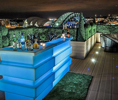 The views from Sky Lounge bar in Newcastle, with views over The Sage and The Tyne Bridge