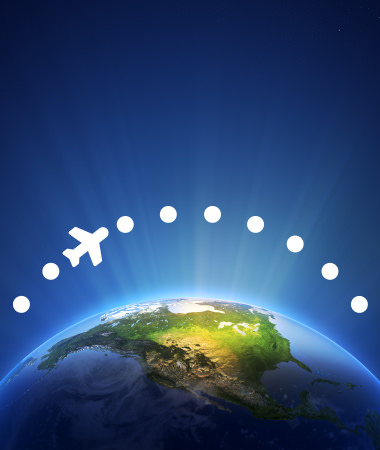 Flight Finder Icon - Plane over Globe