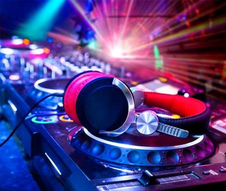 A pair of headphones on a DJ set