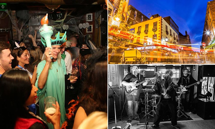 Three tiled images, one of people in fancy dress, one of a band playing and one of The Auld Dubliner's exterior