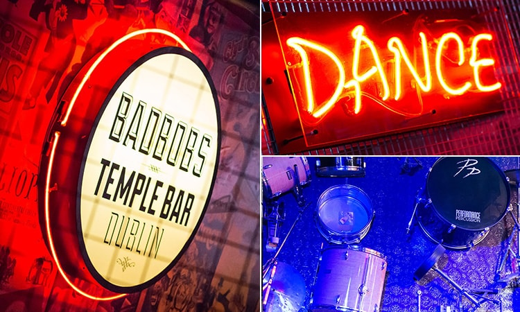 Three tiled images, one of of Bad Bobs logo, one of 'dance' written in neon light and one of some drums laid out in Badbobs