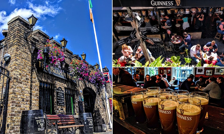 Three tiled images, one of the castle-like exterior of The Brazen Head, one of the beer garden and one of eight pints of Guinness lined up on the bar