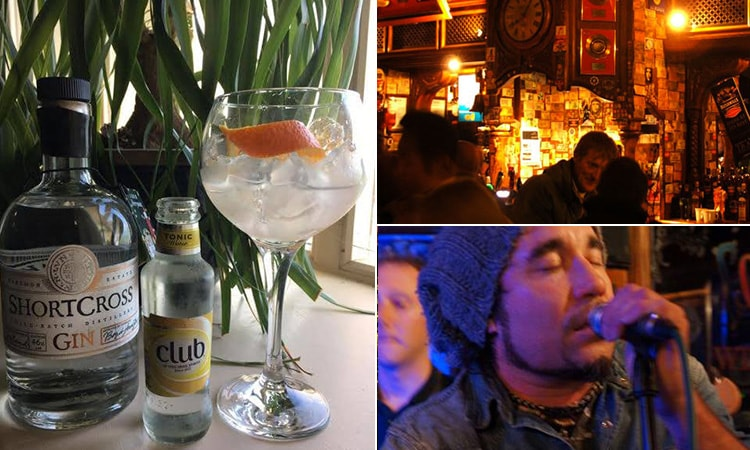 Three tiled images of the Foggy Dew bar in Dublin, including a close up of a man singing, a G&T and some people chatting in the bar
