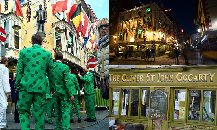Three tiled images, two of Oliver St John Gogarty's exterior and one of some men in green suits walking into the bar