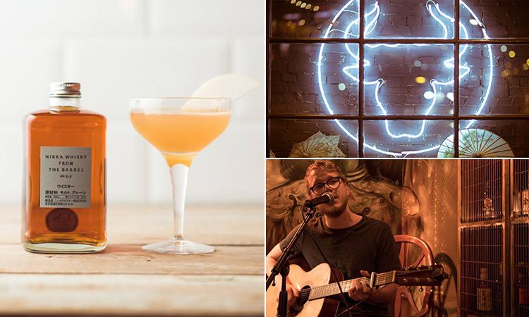 Three tiled images of a cocktail and a whiskey bottle, the Bull in a China Shop logo and a man performing live music in the bar