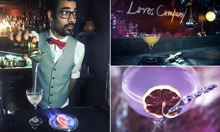 Three tiled images of a man pouring a cocktail, and two cocktails to a backdrop of the bar