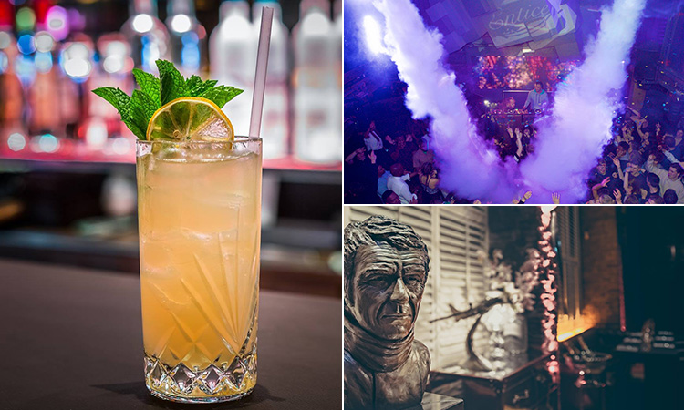 Three tiled images of a pretty orange cocktail, a club with smoke coming from the roof and a bust of Steve McQueen