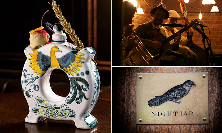 Three tiled images of a fancy cocktail, the Nightjar logo and some musicians in the prohibition bar