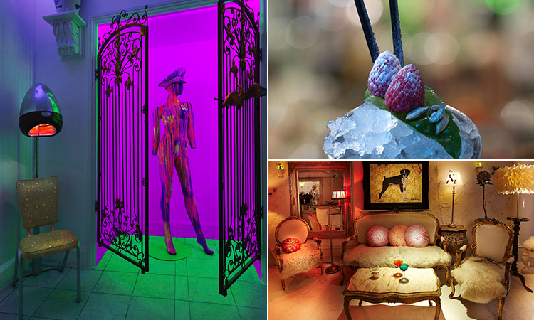 Three tiled images of a neon lit mannequin, the top of an icy cocktail and the interiors of Ninetyeight Bar and Lounge