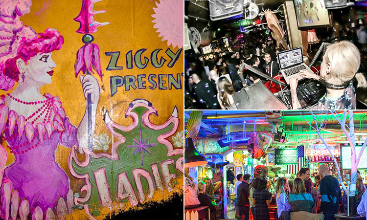Three tiled images of some wall art, a DJ performing and the interiors of Zigfrid von Underbelly