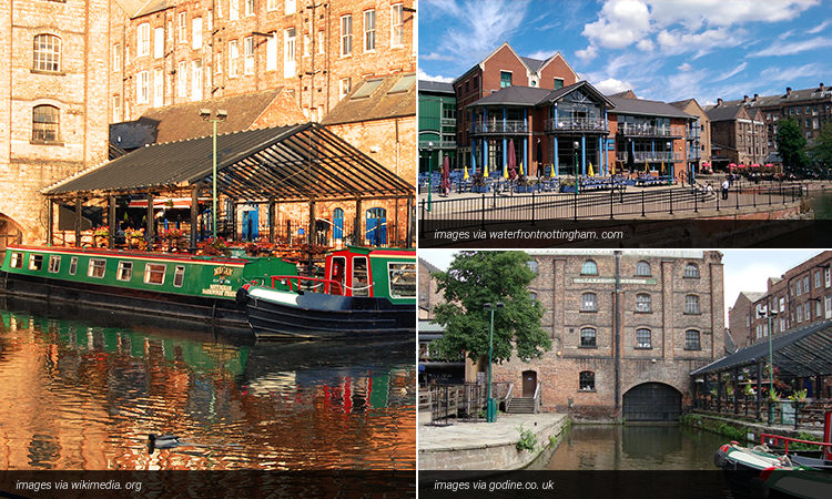 Three tiled images of bar exteriors in Nottingham, along the canal