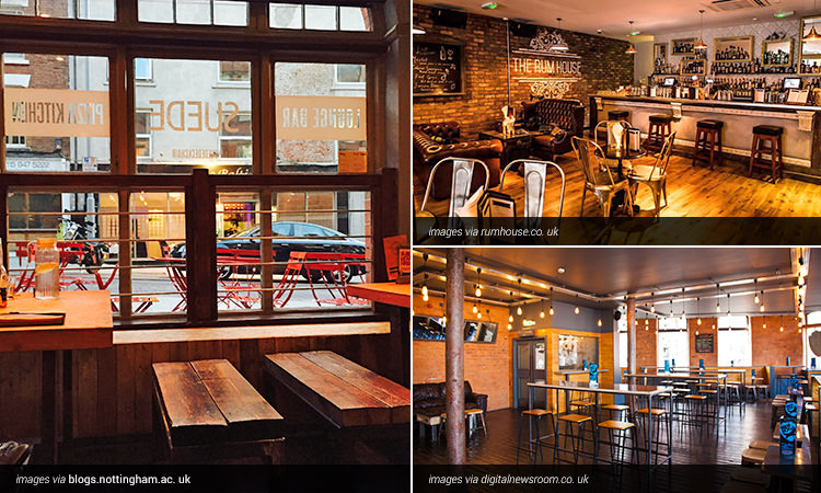 Three tiled images of bar interiors in Nottingham
