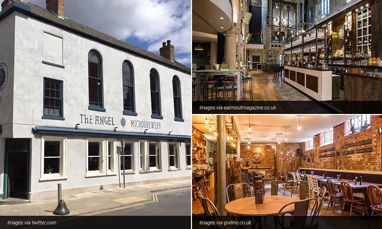 Three tiled images of bars in Nottingham; two of bar interiors and one of the exterior of the The Angel Microbrewery
