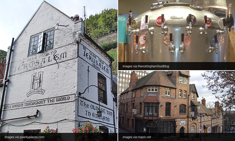 Three tiled images of bars in Nottingham; one of a brewery tank, one of the exterior of a red brick building and one of the exterior of Ye Olde Trip to Jerusalem