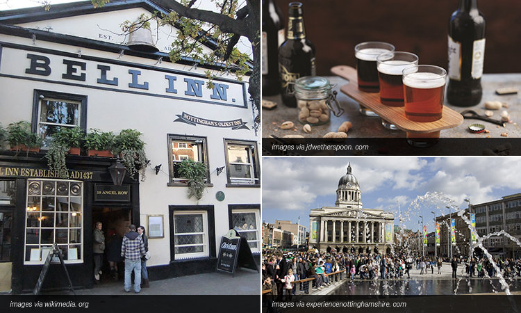 Three tiled images; The exterior of The Bell Inn, three glasses of beer surrounded by bottles and nuts, and the Old Market Square in Nottingham