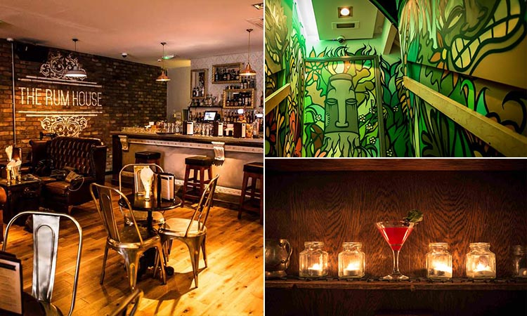Three tiled images of The Rum House; including cool stairs, the interior of the bar and a cocktail on a shelf with tealights in jars