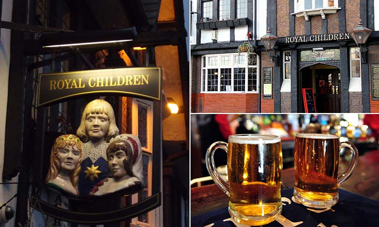 Three tiled images - including one of The Royal Children outdoor sign, one of the exterior and one of two flagons of beer on a bar top