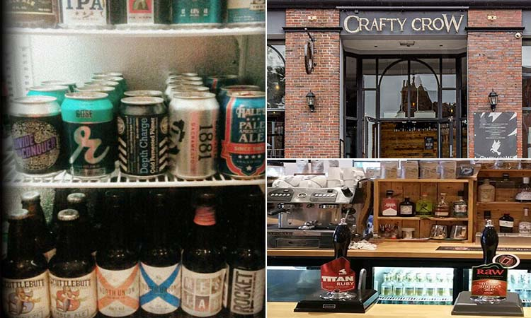Three tiled images - including one of the Crafty Cow exterior, one of beer in a fridge, and one of beer pumps on the bar