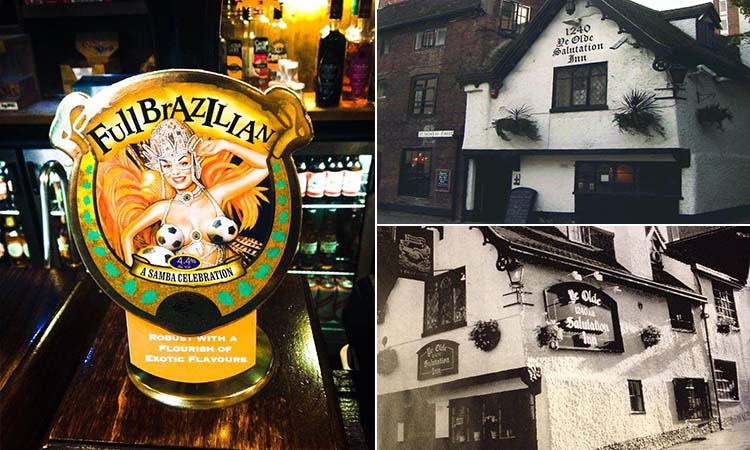 Three tiled images - including one of Ye Olde Salutation Inn exterior and one of an old image of the pub's exterior, and one of a Full Brazilian beer pump