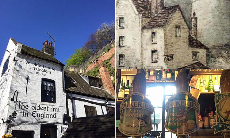 Three tiled images - including one of the exterior of Ye Olde Trip to Jerusalem, one of an old drawing of the pub and one of beer pumps