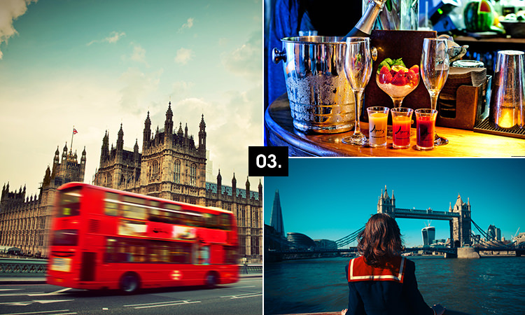 Three tiled images - including one of a London bus passing The Houses of Parliament, one of some cocktails and one of a girl looking at Tower Bridge